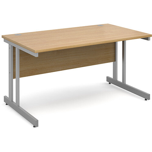 Momento straight desk 1400mm x 800mm - silver cantilever frame, oak top