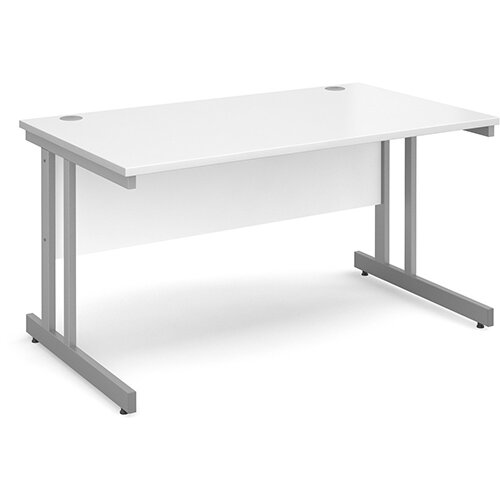 Momento straight desk 1400mm x 800mm - silver cantilever frame, white top