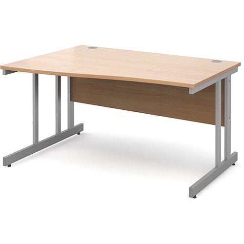 Momento left hand wave desk 1400mm - silver cantilever frame, beech top