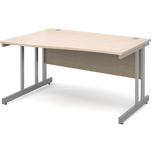 Momento left hand wave desk 1400mm - silver cantilever frame, maple top