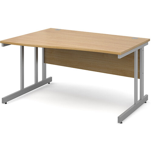 Momento left hand wave desk 1400mm - silver cantilever frame, oak top