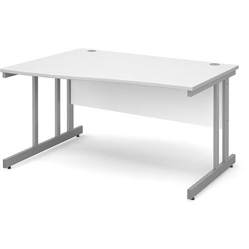 Momento left hand wave desk 1400mm - silver cantilever frame, white top