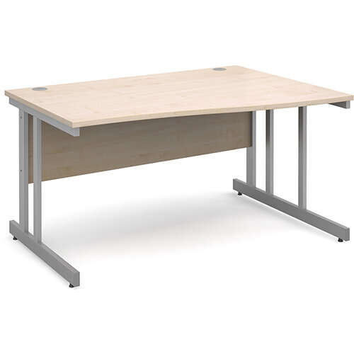 Momento right hand wave desk 1400mm - silver cantilever frame, maple top