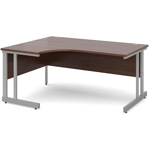 Momento left hand ergonomic desk 1600mm - silver cantilever frame, walnut top