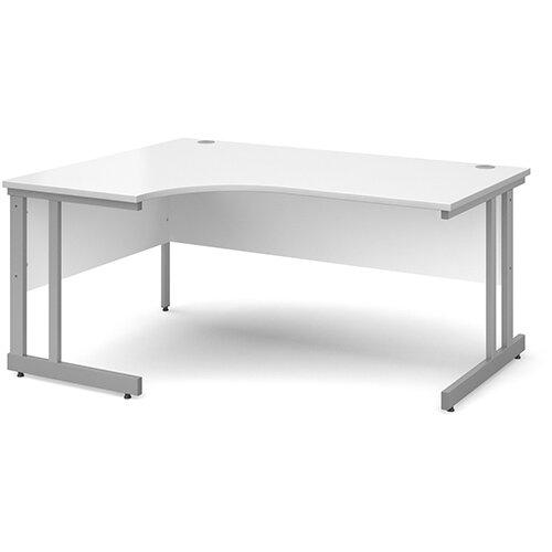 Momento left hand ergonomic desk 1600mm - silver cantilever frame, white top
