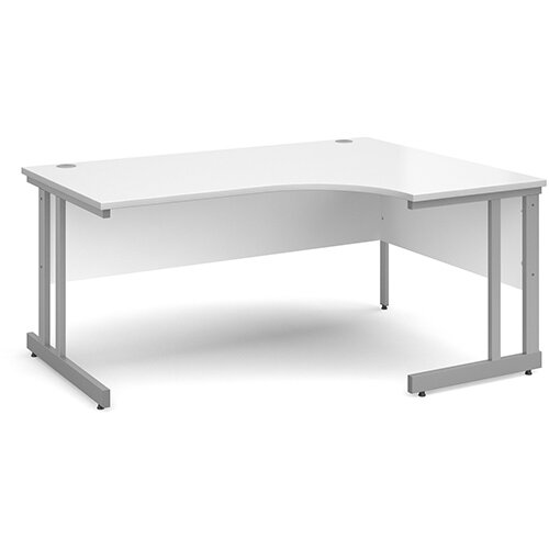 Momento right hand ergonomic desk 1600mm - silver cantilever frame, white top
