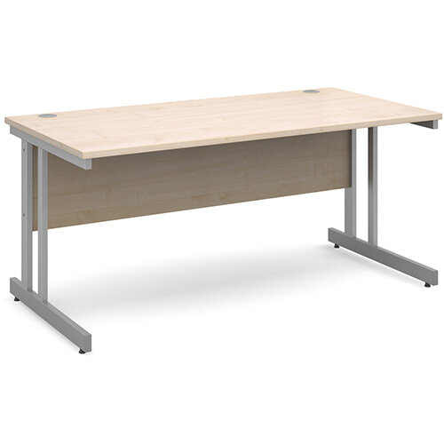 Momento straight desk 1600mm x 800mm - silver cantilever frame, maple top