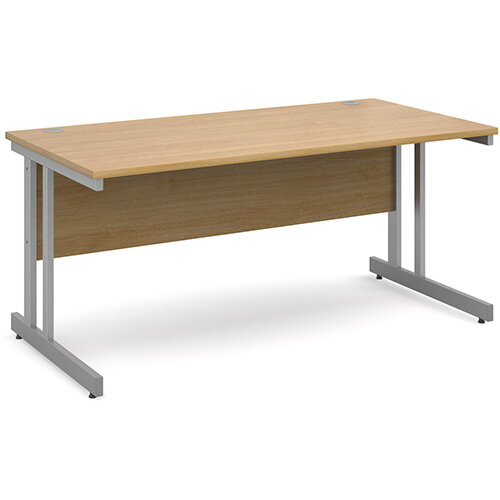 Momento straight desk 1600mm x 800mm - silver cantilever frame, oak top