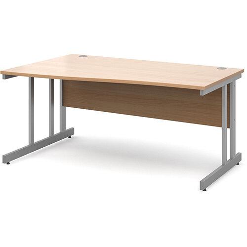 Momento left hand wave desk 1600mm - silver cantilever frame, beech top