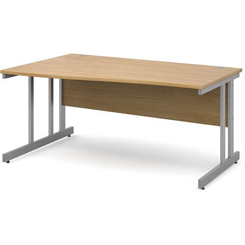 Momento left hand wave desk 1600mm - silver cantilever frame, oak top
