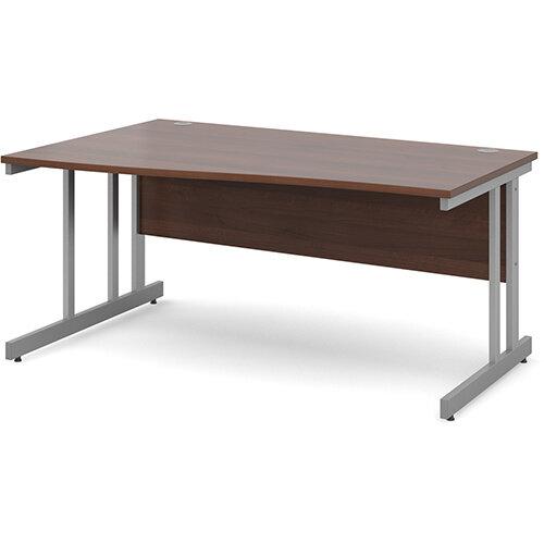 Momento left hand wave desk 1600mm - silver cantilever frame, walnut top
