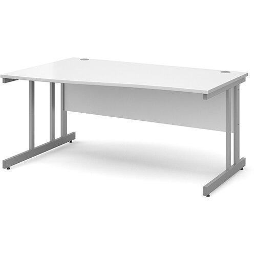 Momento left hand wave desk 1600mm - silver cantilever frame, white top