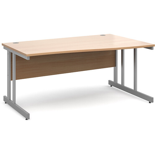 Momento right hand wave desk 1600mm - silver cantilever frame, beech top
