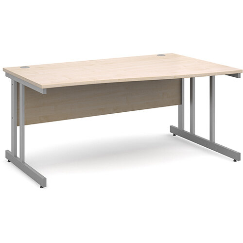 Momento right hand wave desk 1600mm - silver cantilever frame, maple top
