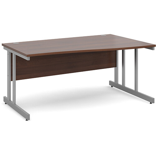 Momento right hand wave desk 1600mm - silver cantilever frame, walnut top