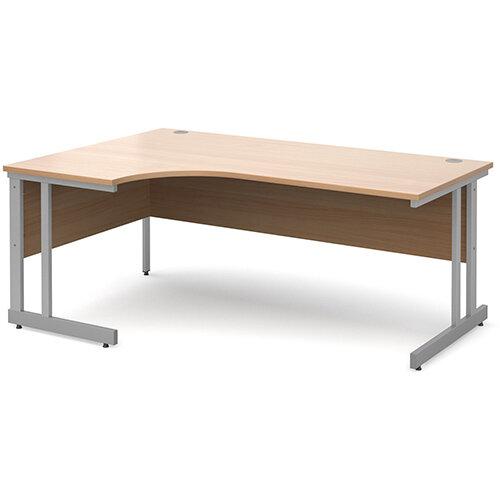 Momento left hand ergonomic desk 1800mm - silver cantilever frame, beech top