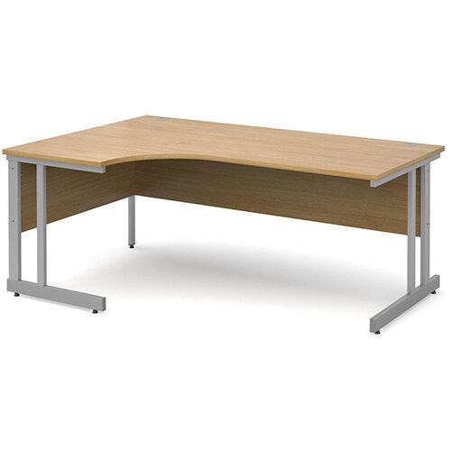 Momento left hand ergonomic desk 1800mm - silver cantilever frame, oak top