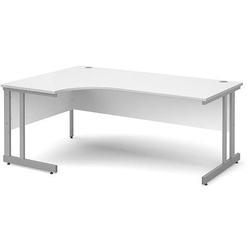 Momento left hand ergonomic desk 1800mm - silver cantilever frame, white top