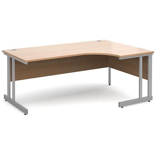 Momento right hand ergonomic desk 1800mm - silver cantilever frame, beech top