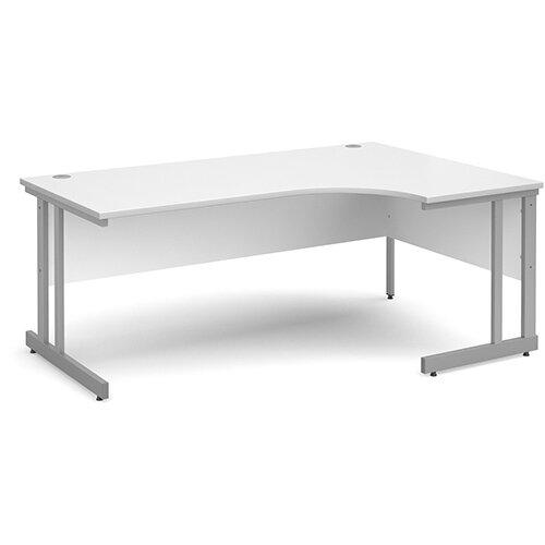 Momento right hand ergonomic desk 1800mm - silver cantilever frame, white top