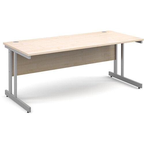 Momento straight desk 1800mm x 800mm - silver cantilever frame, maple top