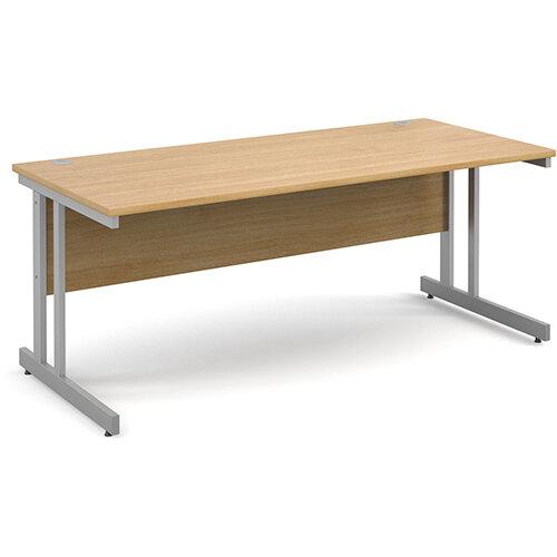 Momento straight desk 1800mm x 800mm - silver cantilever frame, oak top