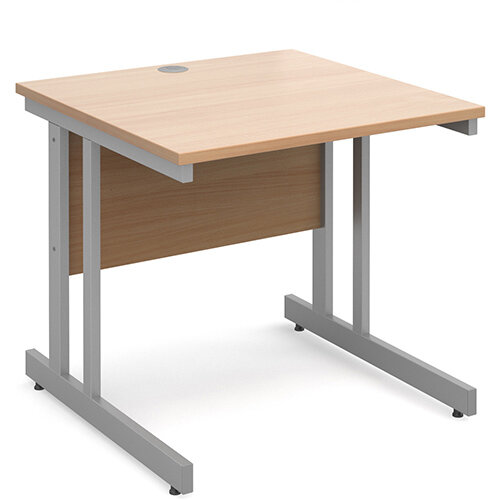 Momento straight desk 800mm x 800mm - silver cantilever frame, beech top
