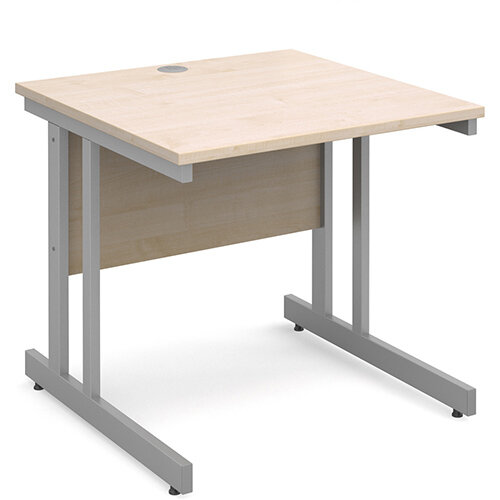 Momento straight desk 800mm x 800mm - silver cantilever frame, maple top