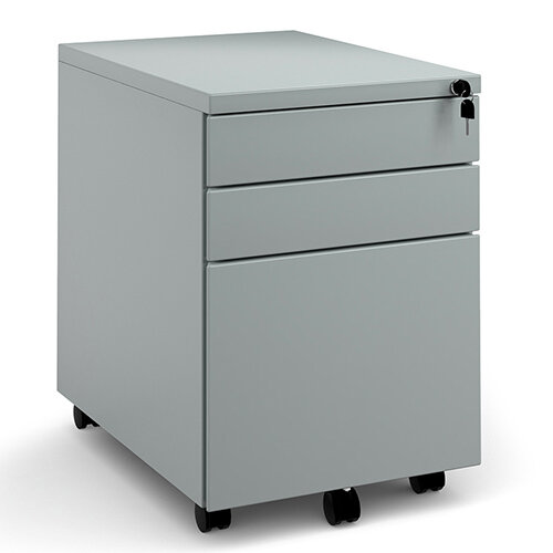 Steel 3 drawer wide mobile pedestal - silver