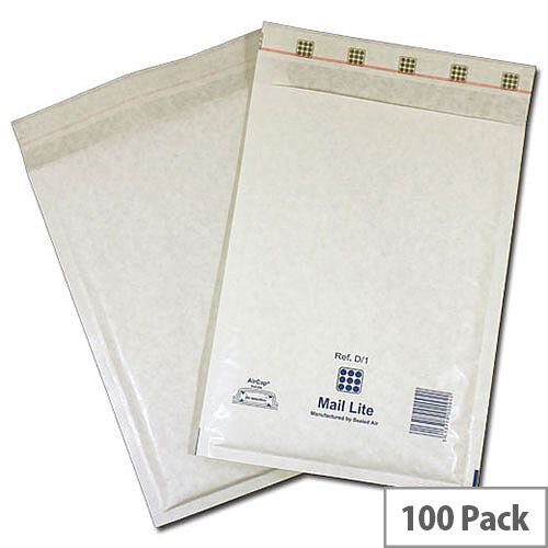 Mail Lite Bubble Lined Size C/0 150x210mm White Postal Bags Pack of 100