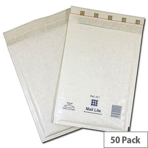 Mail Lite Bubble Lined Size J/6 300x440mm White Postal Bags Pack of 50