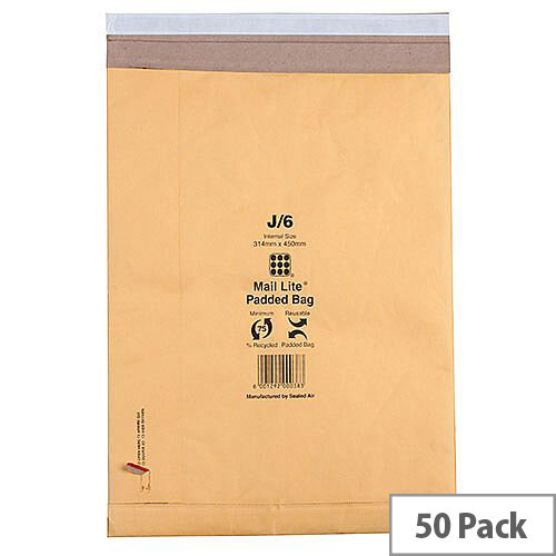 Mail Lite Padded Postal Bags Size K/7 365x476mm Gold Pack of 50