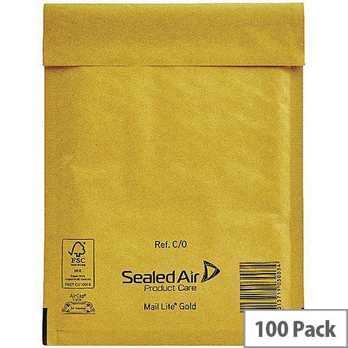 Mail Lite Bubble Lined Size C/0 Gold 150x210mm Postal Bags Pack of 100