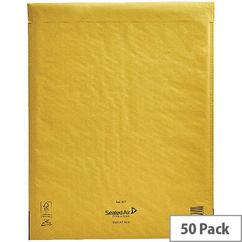 Mail Lite Bubble Lined Size K/7 350x470mm Gold Postal Bags Pack of 50