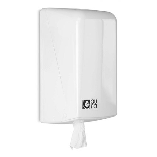 Aura White Centrefeed Hand Towel Dispenser Snow Line for Slim Towel Roll