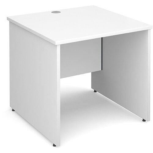 Maestro 25 PL straight desk 800mm x 800mm - white panel leg design