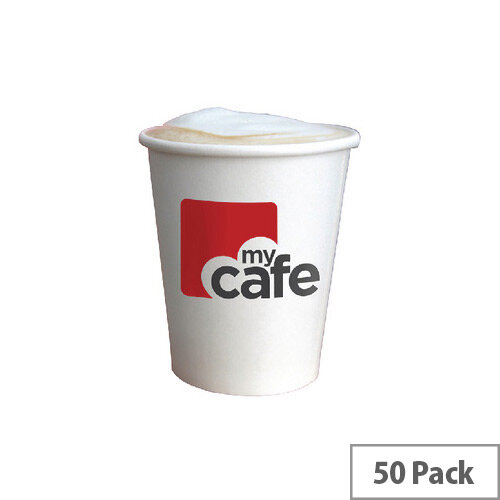 Mycafe 12oz/350ml Single Wall Paper Disposable Hot Cups (50 Pack) HVSWPA12V