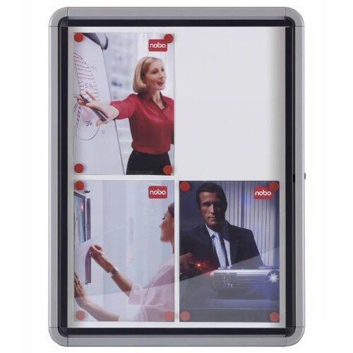 Nobo Noticeboard for Exterior Glazed Case Lockable Magnetic Steel 9xA4 W792xD85xH1040mm Ref 1902580