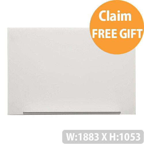 Nobo Diamond White Magnetic Glass Board 1883 x 1053mm 1905178