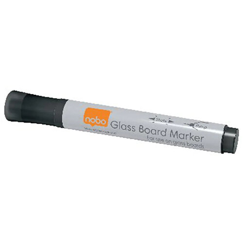 Nobo Glass Whiteboard Markers Black Pack of 4 1905322