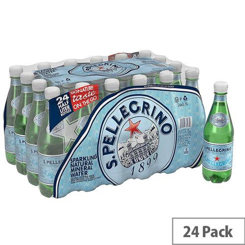 San Pellegrino Sparkling Natural Mineral Water Bottled 500ml Pack of 24