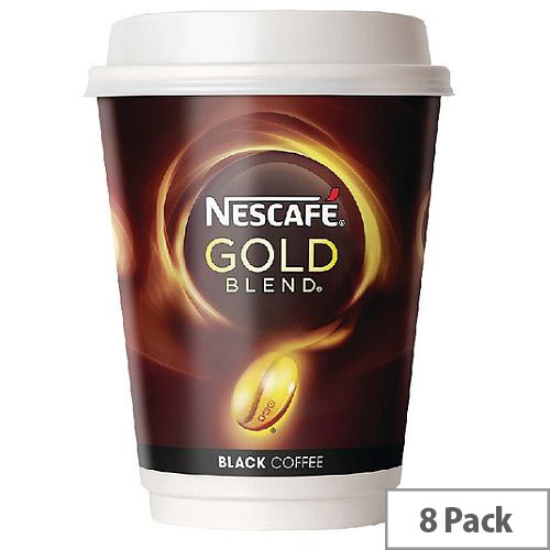Nescafe &Go Gold Blend Black Coffee Foil Sealed Cups for Drinks Machine A02782 Pack 8
