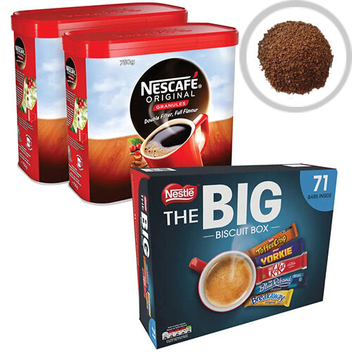 Nescafe Instant Coffee 750g Pack of 2 NL819848 FOC Nestle Biscuit Box 12391006