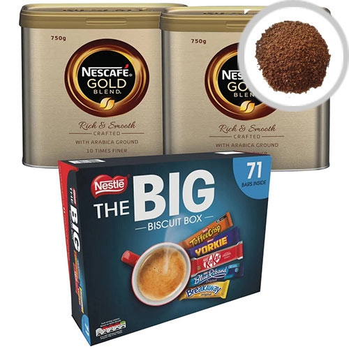 Nescafe Gold Blend Coffee 750g NL819849 Pack of 2 NL819849 FOC Nestle Big Biscuit Box 12391006