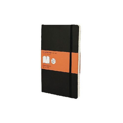 Black Moleskine Hard Cover Notebook – 240 Pages, A5, Compact, Portable, Rounded Corners, Acid-Free, Elastic Enclosure Band, Lined Paper, 130 x 210mm, Matt Finish &Hardcover (QP060)