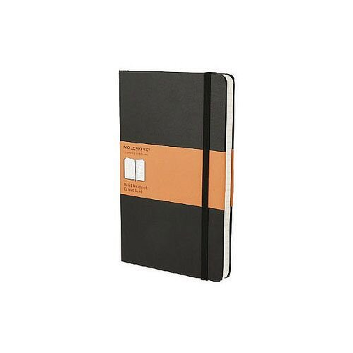 Black Moleskine Soft Cover Notebook – 192 Pages, A5, Compact, Portable, Rounded Corners, Acid-Free, Elastic Enclosure Band, Lined Paper, 130 x 210mm, Matt Finish &Cardboard Cover (QP616)