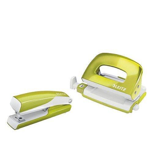 Leitz WOW Mini Stapler and Hole Punch Set Metallic Green