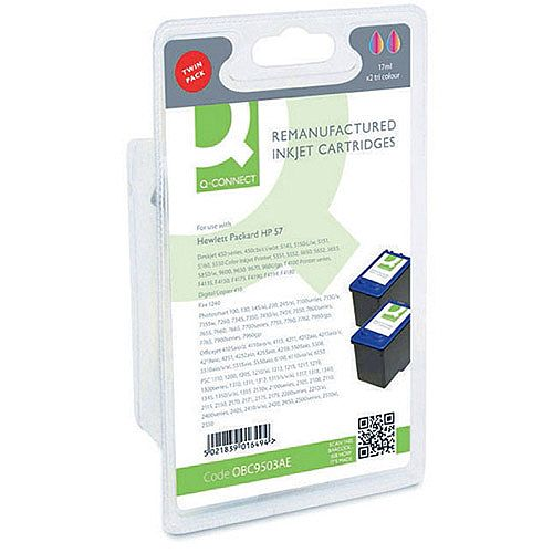 HP 57 Compatible Tri-Colour Inkjet Cartridge Twin Pack C9503AE Q-Connect