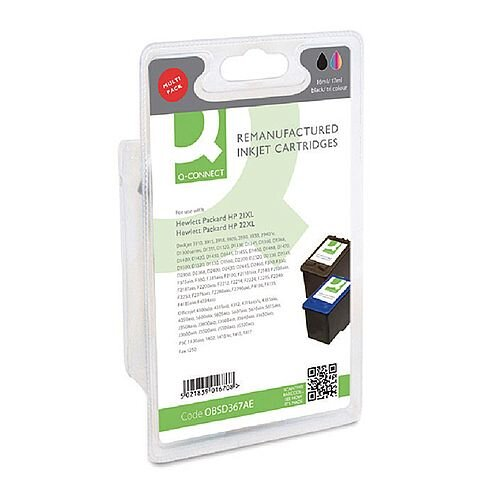 HP 21/22 Compatible Black/Colour Inkjet Cartridges Twin Pack SD367AE Q-Connect