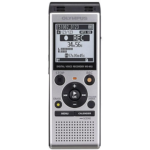 """Olympus WS-852 Digital Voice Recorder Silver With Low-Noise Directional Stereo Microphones. Includes """"Auto Mode"""" To Automatically Adjust Recording Level For an Even Sound quality. Ideal For Offices, Meeting Rooms, Conferences &More."""